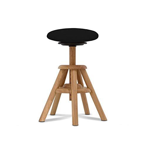 BALIMO WOOD, aus Naturholz, Bürohocker, Sitzhocker, ergonomischer Rücken-Trainer, Bezug schwarz