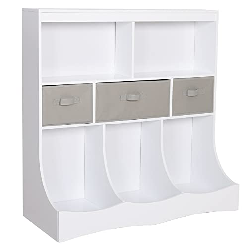 MUPATER Kids Toy Box Storage Organizer Cabinet with Bookshelf and Basket Bins, Children Cubby Shelving Bookcase with 8 Compartments for Kids Room, Playroom and Nursery, White