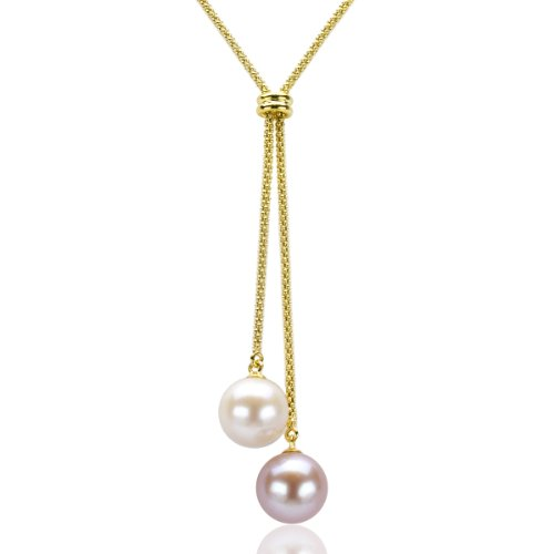 18k Yellow Gold Plated Silver 10-10.5mm White/Pink Freshwater Cultured Pearl Popcorn Chain Necklace, 16""