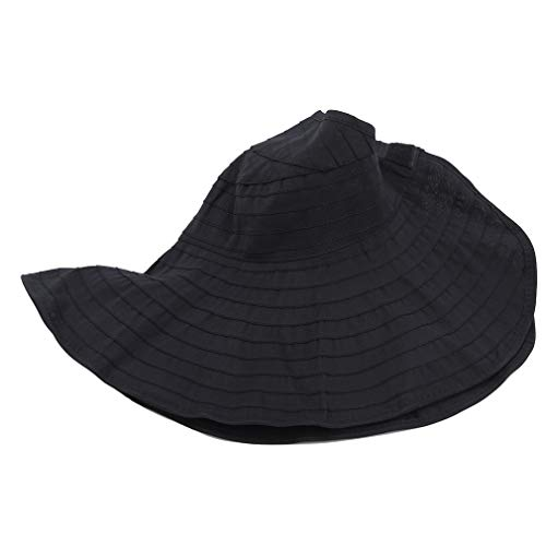 LIXIAQ1 Wide Brim Fisherman Hat Faltbarer Sonnenhut Roll Up Bucket Cap Outdoor Beach Camping Reisehut, Schwarz
