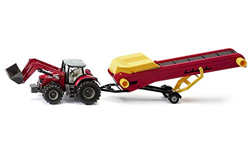 SIKU Traktor mit Förderband Massey Ferguson-Tractor con Cinta transportadora, Color Rojo y Amarillo (Sieper GmbH 1996)