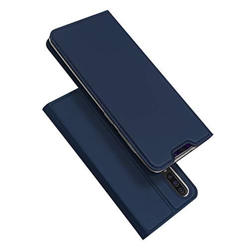 DUX DUCIS Funda Samsung Galaxy A70, PU Cuero Flip Folio Carcasa [Magnético] [Soporte Plegable] [Ranuras para Tarjetas] para Samsung Galaxy A70 (Azul Marino)