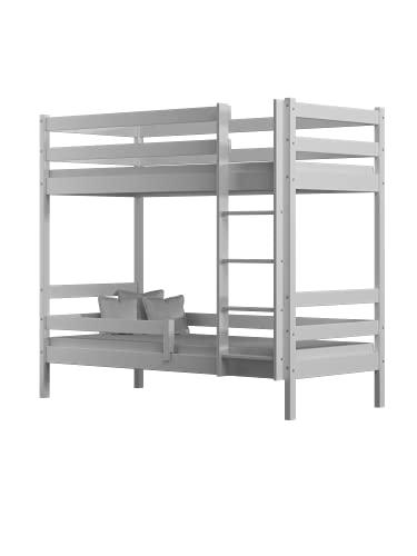 Children's Beds Home - Litera de madera maciza - Theo para niños niños pequeños - Tamaño 180x90, Color Blanco, Cajón Ninguno, Colchón