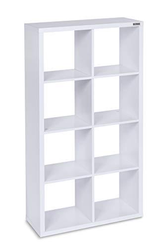 ts-ideen Standregal Bücherregal CD-Regal Aufbewahrung Holz Weiß Modern Design 8 Fächer