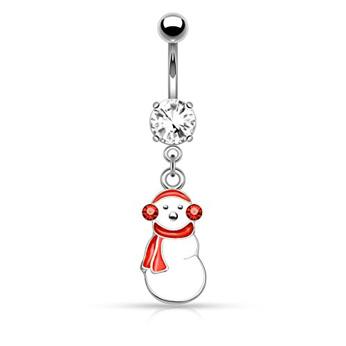 Pierced Owl Christmas Holiday Season Snowman Dangling Belly Button Navel Ring in 316L Stainless Steel (Silver Tone Snowman)