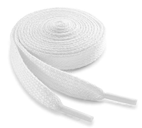 OrthoStep Cotton Wide Flat Athletic 42 inch White Shoelaces - shoe laces and Sports Shoelaces 2 Pair Pack