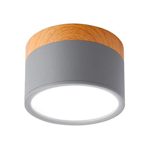 Temgin Focos Superficie Grises Redondo 7W Focos para Techo Lámpara de Techo Blanco Frío Aluminio Para Baño Cocina Pasillo Sala