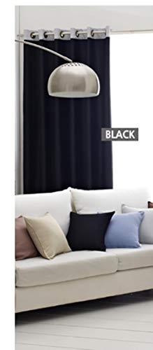 Cortinas para sala de estar Ventanas para Dormitorio Ambiental Blackout Europeo Sheer Tulle Color Sólido Estilo Simple para Puerta, Negro, W500cmxH250cm