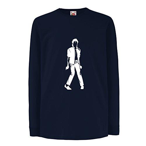 lepni.me Camiseta para Niño/Niña Me Encanta M J - Rey del Pop, 80s, 90s Músicamente Camisa, Ropa de Fiesta (7-8 Years Azul Blanco)