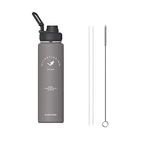 Water Bottle Double Wall Vacuum Insulated (17oz,24oz,32oz,40oz) Wide Mouth Thermoses with 3 Lids Straw Lid Spout Lid Handle Lid Keep Liquids Hot or Cold Sports Stainless Steel Water Bottle for Kids
