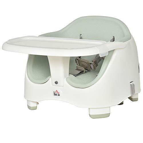 HOMCOM Kinder Boostersitz Sitzerhöhung Babysitz zum Füttern und Spielen mit abnehmbaren für 6-36 Monate Beige PP PU Grün 37L x 47B x 31-35H cm
