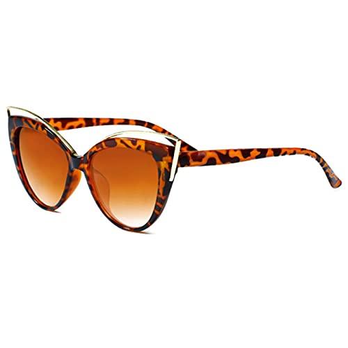 Gafas de Sol Gafas De Sol Vintage con Forma De Ojo De Gato para Mujer, Gafas De Sol Retro para Mujer, Gafas De Color Degradado, Gafas Uv400, Leopardtea