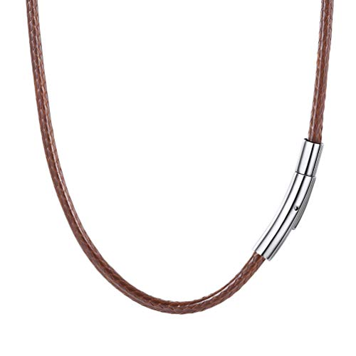 PROSTEEL 18 inch Choker Chains Wax Rope Necklace Brown
