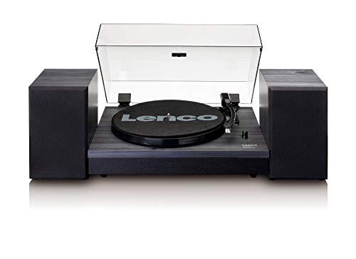 Lenco LS-300 Giradischi con due altoparlanti separati, Bluetooth, Nero, 15.2 x 35 x 43.8 cm