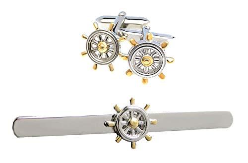 magdalena r. Set maritim Krawattenklammer Manschettenknöpfe Schiff Steuerrad Bicolor teilvergoldet + Silberboxen