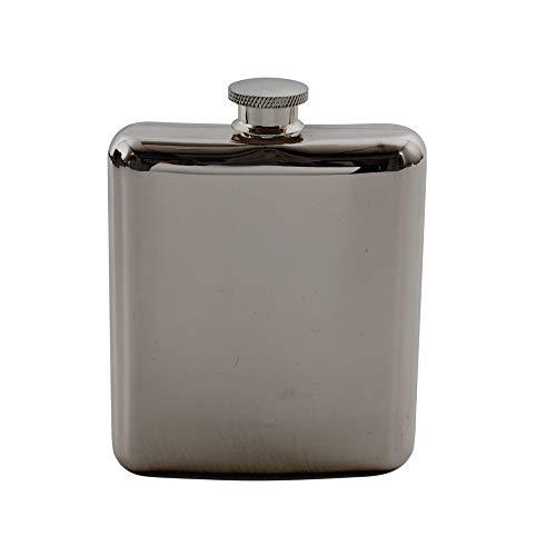 Point-Virgule flasque a Alcool, pour Rhum, Whisky, Vodka en INOX Noir métallique 175ml