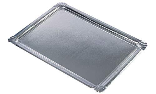 PAPSTAR Servierplatte, eckig, 455 x 340 mm, silber, Sie erhalten 1 Packung, Packungsinhalt: 10 Stück