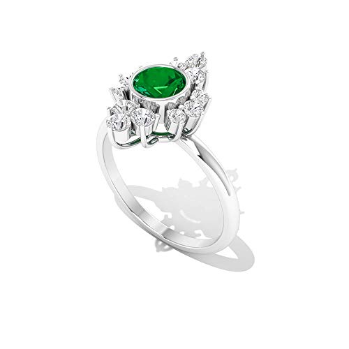 Rosec Jewels 14 quilates oro blanco redonda round-brilliant-shape H-I Green Diamond Zafiro azul Leb creado