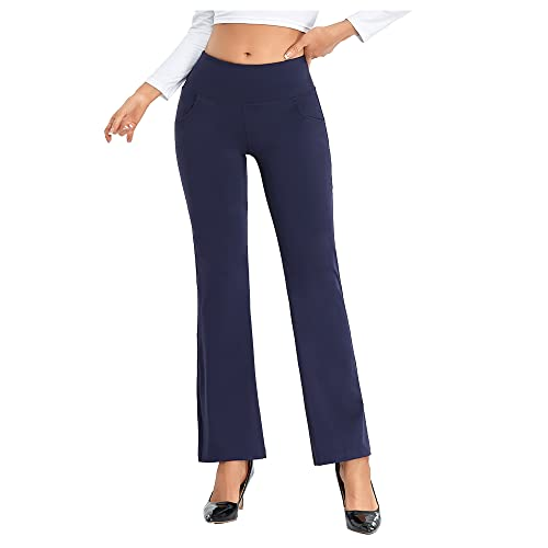 Agenlulu Women's Pants High Waisted - Ease Into Comfy 4-Way Stretch Tummy Control Flare Casual Dress Pants for Women Business Navyblue