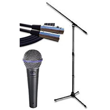 Shure Beta 58A Supercardioid Dynamic Microphone Bundle with XLR Cable, Windscreen, and Boom Stand