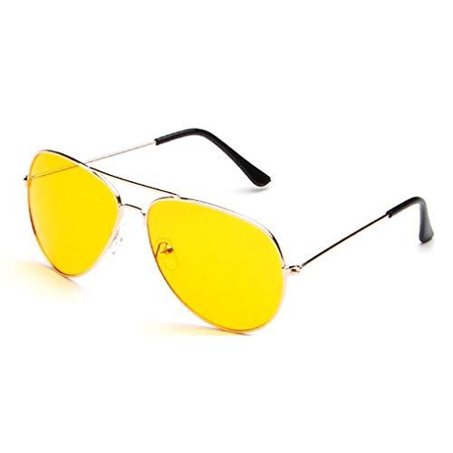 ASFD Gafas de Sol nocturnas, Vista Nocturna, Gafas de conducción, antirreflejos, protección UV400, Gafas nocturnas para Hombres y Mujeres (Dorado)