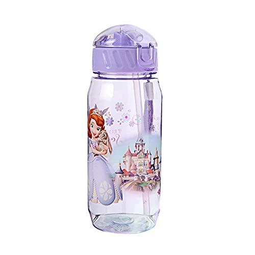 Disney Baby Minnie Mickey Taza de alimentación con pajita Dibujos animados Blancanieves Botella de agua deportiva 450ML-1