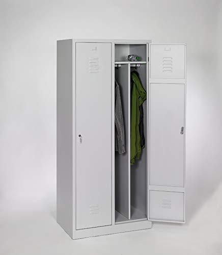 furni24 Garderobenschrank Schließfach Spind Umkleideschrank Kleiderschrank Abteilbreite 40 cm 2-türig fertig montiert Verschiedene Ausführungen verfügbar