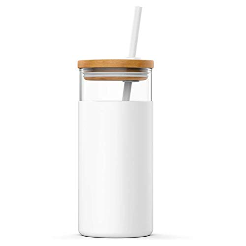 LINONI 500ml Summer Milk Juice Drinking Jar Transparent Straw Glass Cup Leakproof Water Bottle with Wooden Lid and Silicone Cover for Women Girls