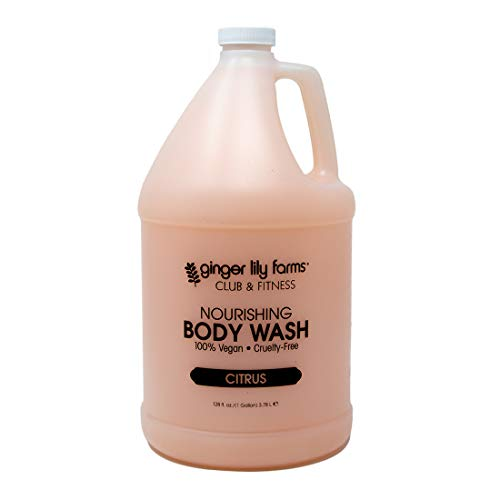 Ginger Lily Farms Club & Fitness Citrus Nourishing Body Wash, Softens, Nourishes and Cleans Skin, 100% Vegan and Cruelty-Free, 1 Gallon