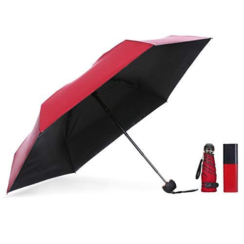 NASUM Mini Paraguas, Paraguas de Bolsillo Plegable, Paraguas Ligero y Compacto, Paraguas de Viaje Plegable Doble Capa Anti-UV, UPF 50+ Resistente a la Lluvia, con Estuche de Cápsula Cuadrilátero