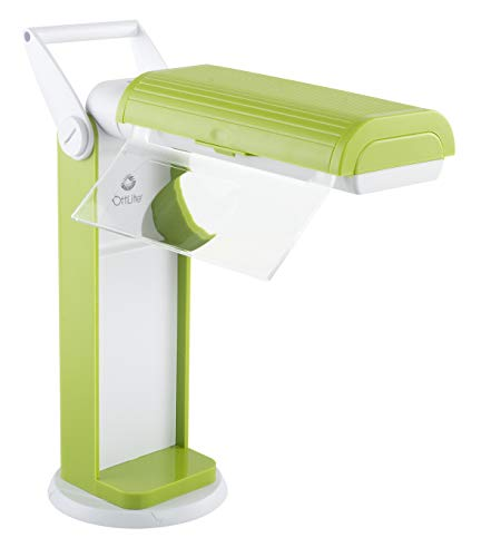 OttLite 13 Watt Magnifier Task Lamp with 2X Magnification and Swivel Base, Green