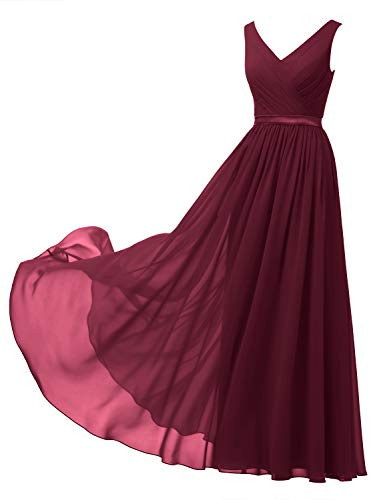 Alicepub V-Neck Chiffon Bridesmaid Dress Long Formal Gown Party Evening Dress Sleeveless, Burgundy, US8 Chiffon Formal Evening Dress