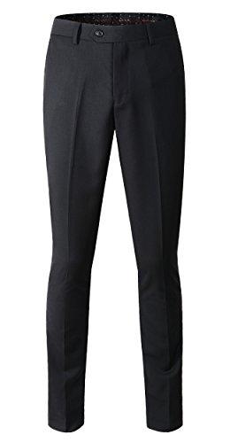 Men's Stretch Modern-Fit Flat-Front Pant (US size 34 / Tag size 36, Black)