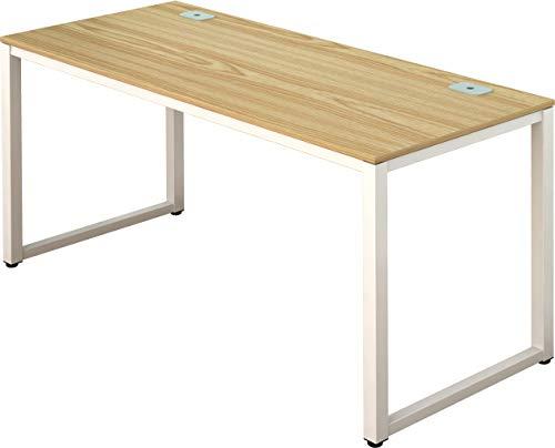 SHW Home Office 55-Inch Large Computer Desk, White Frame W/Oak Top