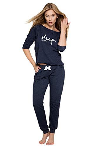 S& SENSIS sensationeller Baumwoll-Pyjama (Made in EU) Shorty Schlafanzug Hausanzug aus zartem Oberteil und toller Hose, Gr. 36, Dunkelblau Sleep