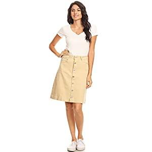 Women's Vintage Stretch Denim Jean Button Flare Skirt with Side Pocke...