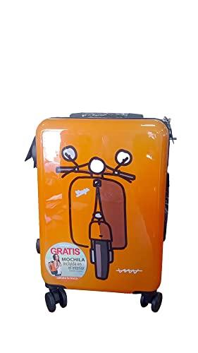 Maleta de cabina rígida de avión, Cállate la Boca 2.0 de color naranja con diseño de vespa.