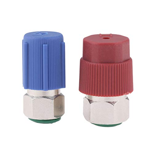 R12 to R134A AC Retrofit Fitting Adapter Kit, R12 R22 to R134A High/Low Fitting Port Retrofit 1/4'' to 7/16'-20 UNF Conversion Adapter, Fits for AC Air Conditioner Refrigerant