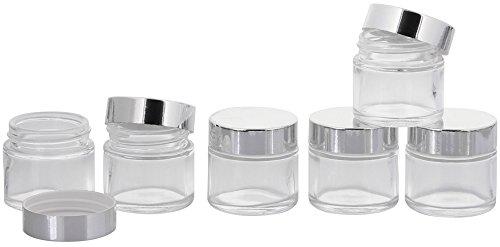Klar Glas-Tiegel 30 ml mit Silber Deckel, Leere Kosmetex Glas Creme-Dose, Kosmetik-Dose aus Klarglas, 6× 30 ml Klarglas Silber Deckel