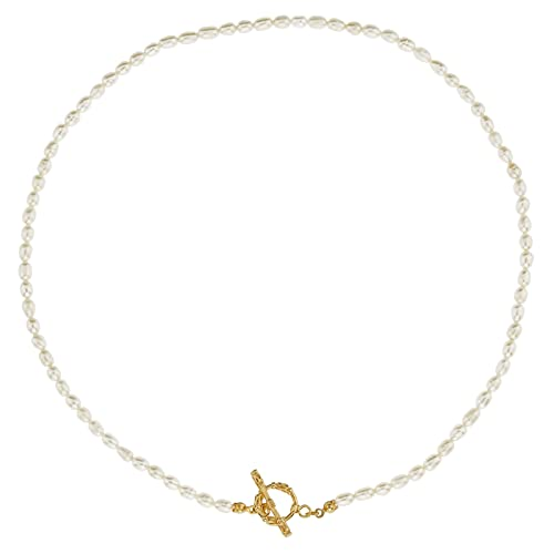 JEEMEER Freshwater Cultured Pearl Necklace Bracelet White Tiny Pearl Beaded Jewelry with Gift Box for Women and Girls (Necklace)