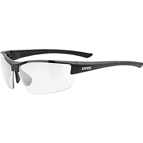 uvex Unisex– Erwachsene, sportstyle 612 VL Sportbrille, selbsttönend, black mat/smoke, one size