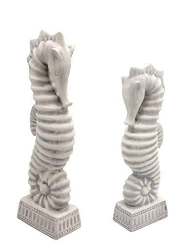 MAIKAI 2er Set Seepferdchen Skulptur Ca. H32 cm und Ca. H43 cm Deko Figur Weiß Gewischt Keramik Badezimmer Bad Wohnen Dekoration Maritim