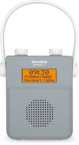 TechniSat DIGITRADIO 30 - wasserdichtes DAB+ Duschradio (UKW, DAB Digitalradio, integrierter Akku, Bluetooth, wasserdicht nach IPX5, Wecker, Favoritenspeicher, Kopfhörer-Anschluss) grau