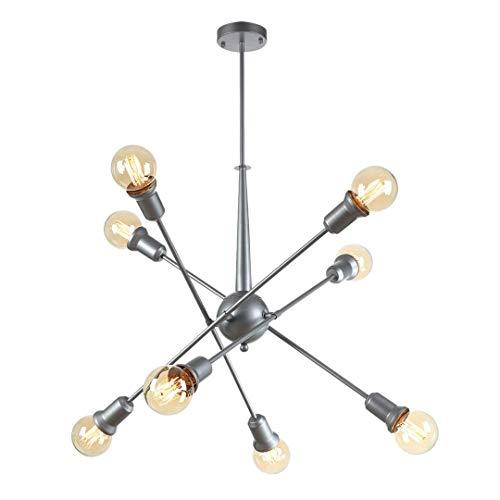 Lámpara de luz de 8 luces moderna Sputnik lámpara de araña con brazos ajustables, luz colgante de mediados de siglo, lámpara de techo industrial vintage, lámpara de techo metálica plateada