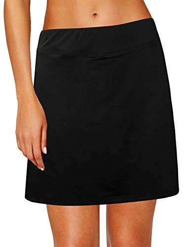 Oyamiki Women's Active Athletic Skort Lightweight Tennis Skirt Perfect for Running Training Sports Golf Black