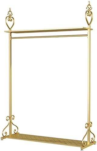 LONGJIQ Golden Nordic Metal Dormitorio de pie Mujeres Ahorro de Espacio Ropa para el hogar Riel Colgante con estantes Tienda de Ropa Soporte de Pantalla 3 Tamaños-100 × 40 × 168cm Fantastic