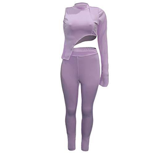 Conjunto de chándal para mujer, sudadera de manga larga y pantalones de cintura alta, casual, 2 unidades