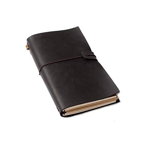 MISDD Cuaderno de Notas Vintage Negro talonario Cuaderno de Cuero Suave de...