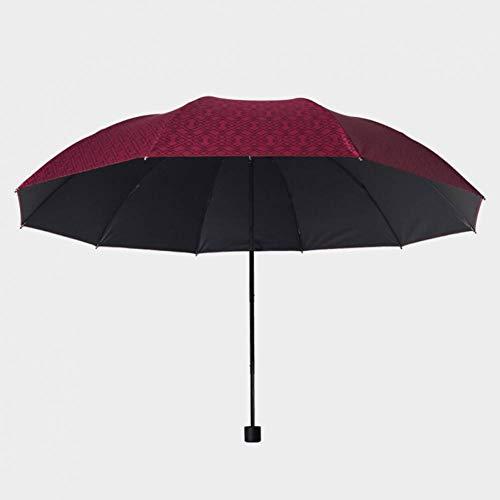 XCWQ Vrouwen Paraplu Rood Automatische Mannen Paraplu 3Fold Houten Handvat Coating Zon Vouwparaplu's 10K Winddichte Grote Storm Paraplu