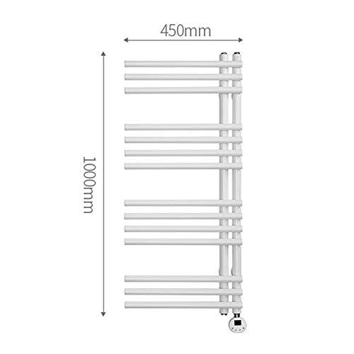 MTX-Racks handdoekverwarmer elektrische handdoekdroger, wandmontage radiator 1000x450 mm - Moderne centrale verwarming plaatsbesparende radiator - Perfect voor de badkamer, wit modern design